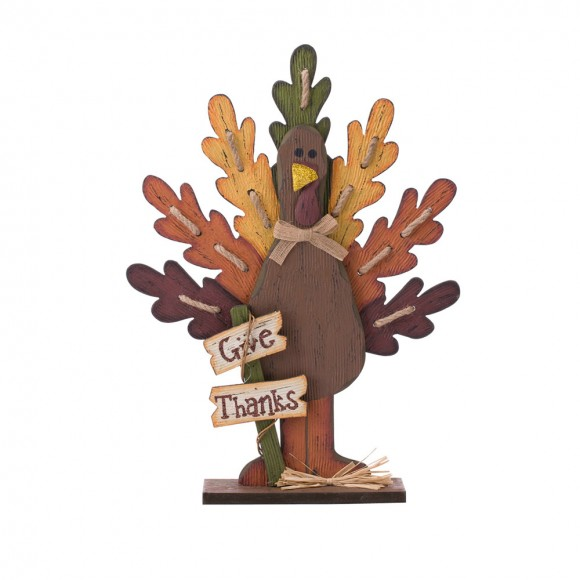 Glitzhome Burlap Wooden Turkey Decor for Thanksgiving