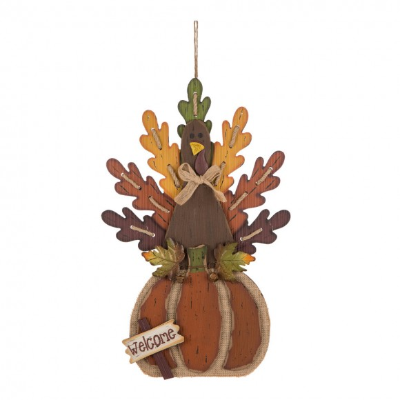 Official Glitzhome Burlap Wooden Autumn Turkey Wall