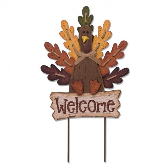 Glitzhome Burlap Wooden Autumn Turkey Welcome Sign or Yard Stake