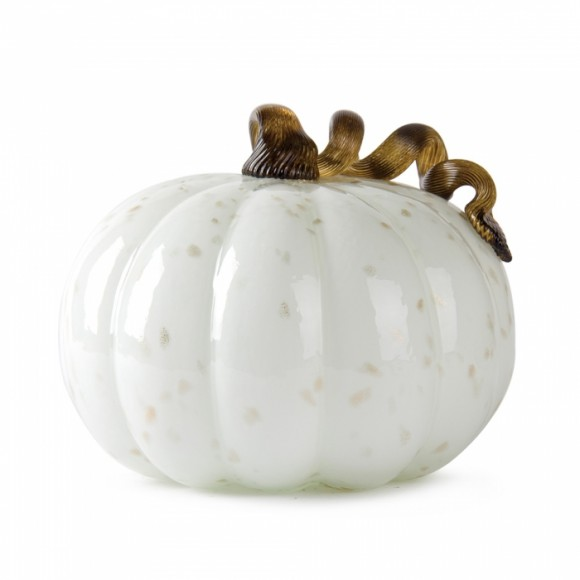 """Glitzhome 7.09"""" Handblown Golden/White Glass Pumpkin Table Accent For Fall & Harvest, Thanksgiving Decorating"""