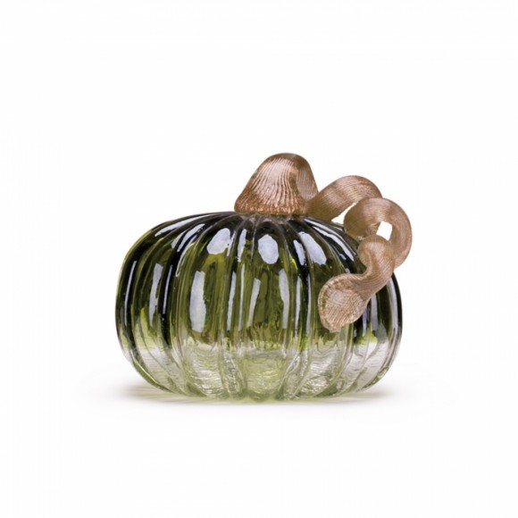 "Glitzhome 4.72"" Handblown Green Crackle Glass Pumpkin Table Accent For Fall & Harvest, Thanksgiving Decorating"