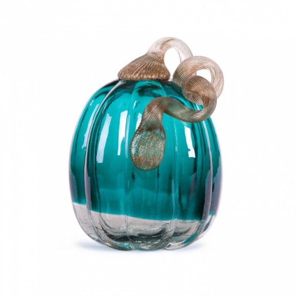 Glitzhome 5.51 Inch Hand Blown Turquoise Crackle Glass Pumpkin Table Accent