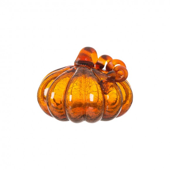 "Glitzhome 6.69"" Amber Crackle Glass Pumpkin Fall Harvest Halloween Decoration"
