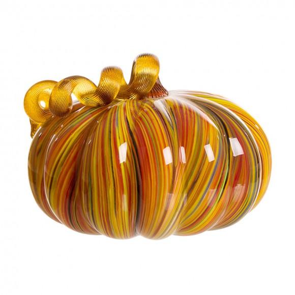"Glitzhome 8.66""D Hand Blown Striped Large Glass Pumpkin Decor"
