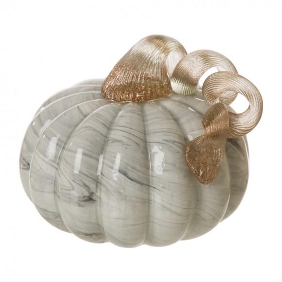 Glitzhome 5.12'D Hand Blown Gray Marble Glass Pumpkin Decor
