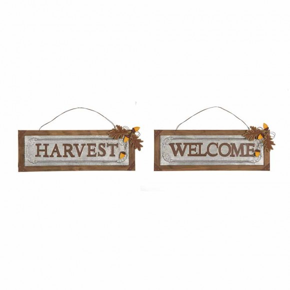 Glitzhome Solid Wood/Galvanized Harvest/Welcome Wall Sign Set of 2