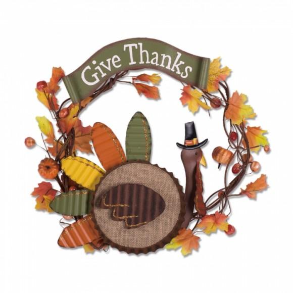 "Glitzhome ""Give Thanks"" Burlap/Iron Turkey Wreath Wall Decor"