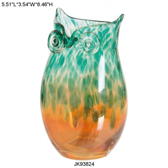 Glitzhome Handblown European Gold Owl Glass Vase