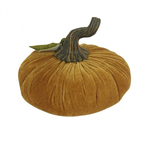 Glitzhome Large Golden Plush Velvet Pumpkin Decor