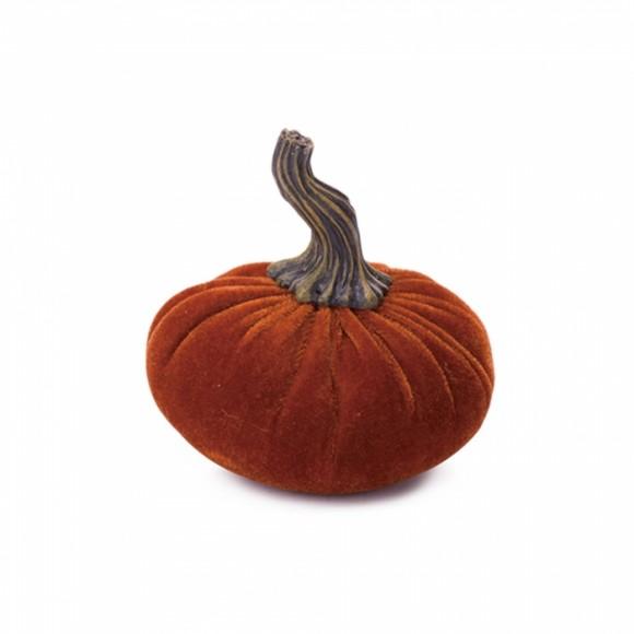 Glitzhome Pumpkin Pillow Orange Small Velvet Pumpkin