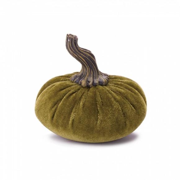 Glitzhome Velvet Pumpkin for Home Decor, Small, Green