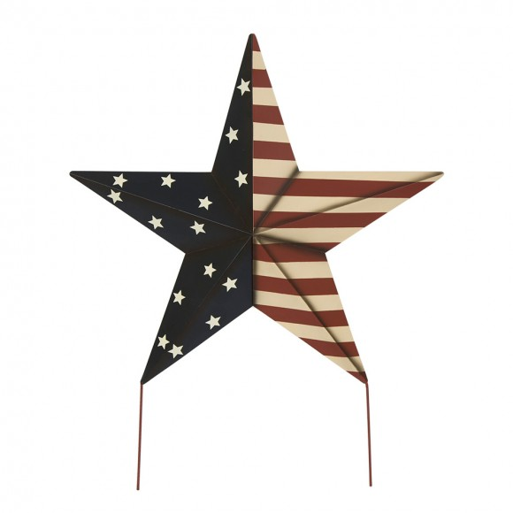 Glitzhome Handcrafted Iron Patriotic Star Garden Yard Stake Or Wall Decor