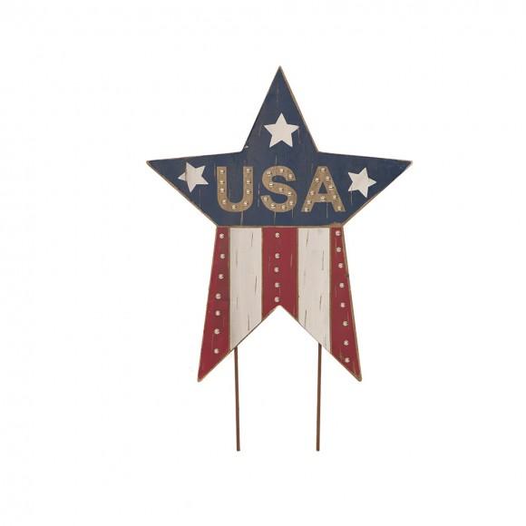 "Glitzhome Handcrafted Wooden Patriotic ""USA"" Star Garden Yard Stake"