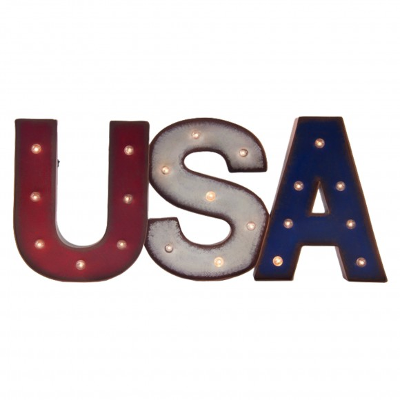 "Glitzhome Patriotic LED Marquee ""USA"" Sign Wall Decor Battery Operated"