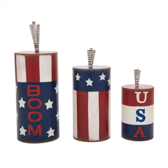 Glitzhome Handcrafted Iron Patriotic Firecrackers Table Decor, Set Of 3