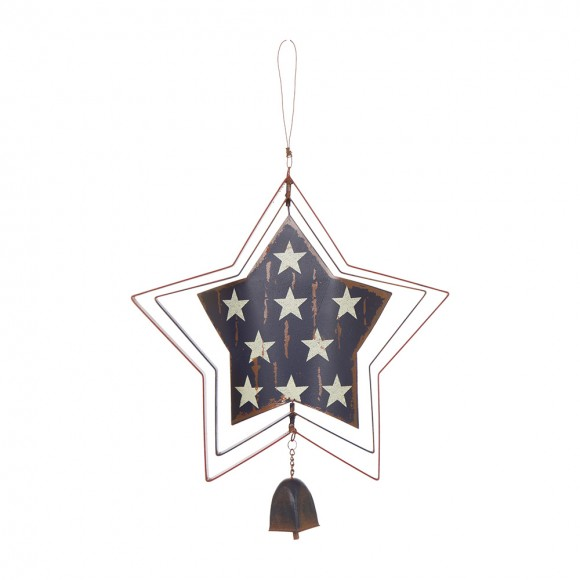 Glitzhome Handcrafted Iron Patriotic Hanging Star Spinner