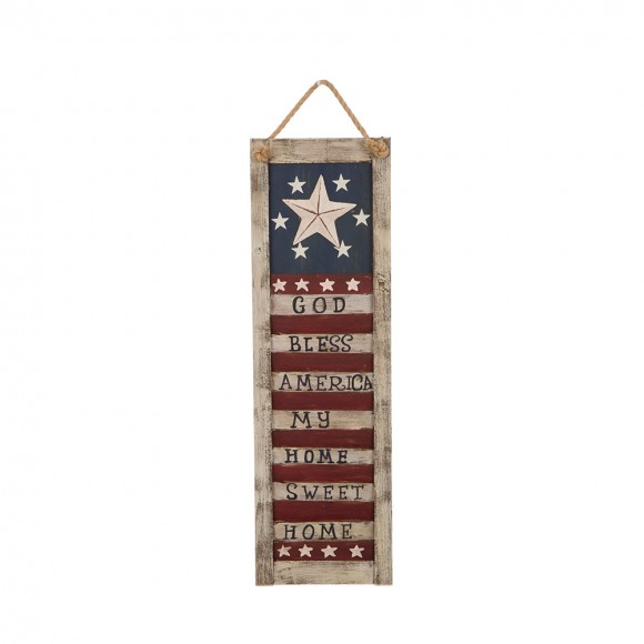 Glitzhome Handcrafted Wooden Rustic Star Hanging Wall Sign