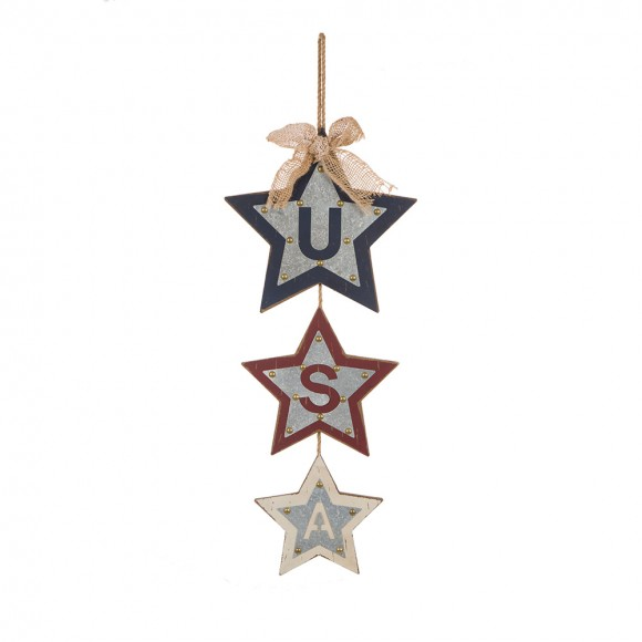 """Glitzhome Handcrafted Iron/Wooden Galvanized """"USA"""" Star Wall Hanging Sign"""