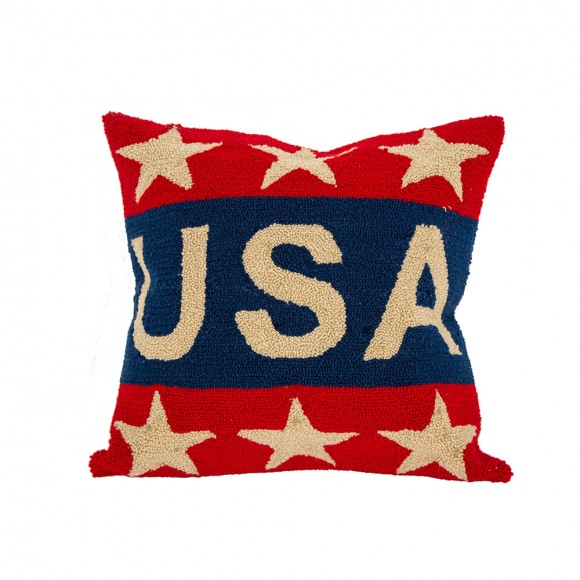 "Glitzhome Handmade Hooked Patriotic ""USA"" Pillow Cover"