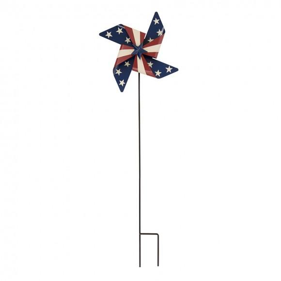Glitzhome Handcrafted Iron Patriotic Wind Spinner Garden Yard Stake