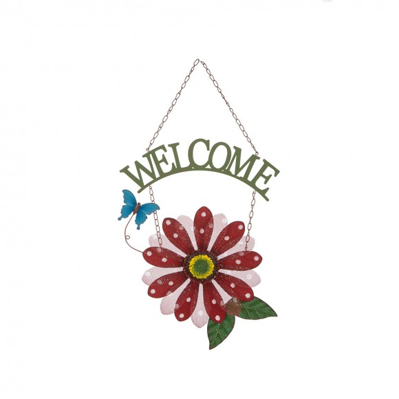 """Glitzhome 16.54 """"H Handcrafted Mesh Flower Wall Decor Red"""