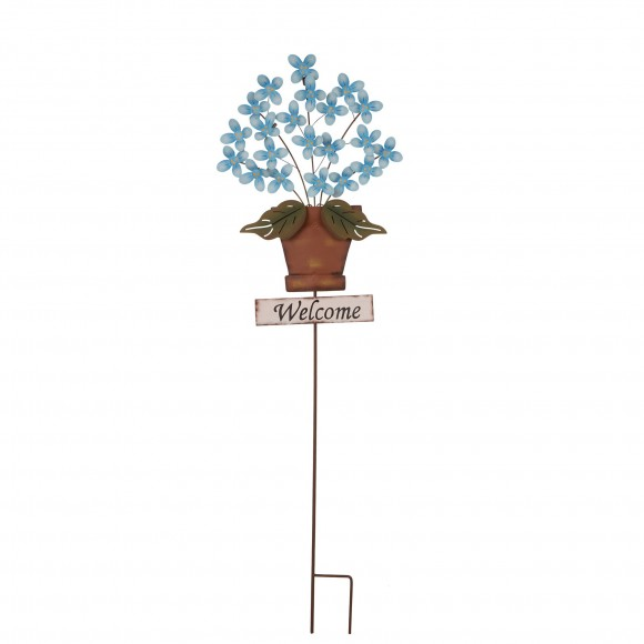 "Glitzhome 13.39 ""L Garden Iron Flowers Planter Decorative Yard Stake"