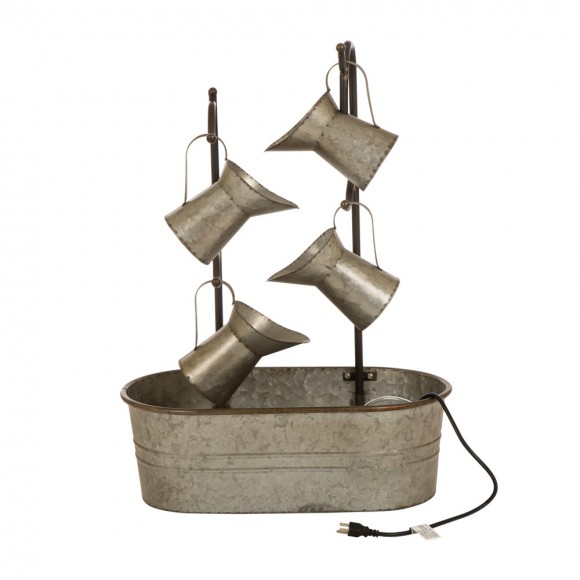Glitzhome Fountain Accent Electric Metal Galvanized Waterfall