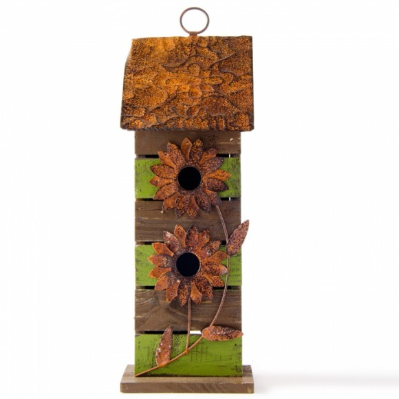 """Glitzhome 14.45""""H Hanging Two-Tiered Distressed Wooden Garden Bird House With Flowers"""