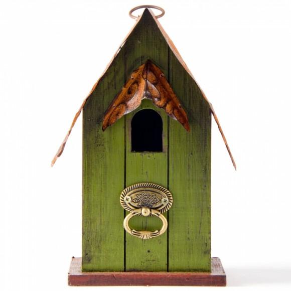 "Glitzhome 10""H Rustic Garden Distressed Wooden Decorative Bird House"