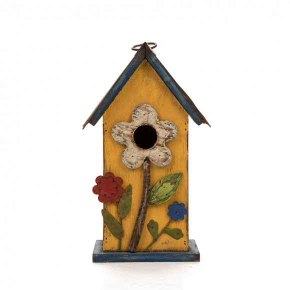 Glitzhome Wooden Distressed Flower Garden Bird House 10.24 Inch Height