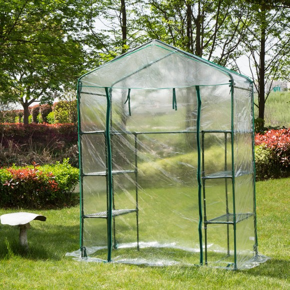 Glitzhome Garden Backyard 3 Shelf Mini Walk-In Greenhouse