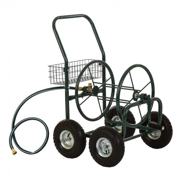 Glitzhome 34.45''H Garden Hose Reel Cart with the non-slip handle