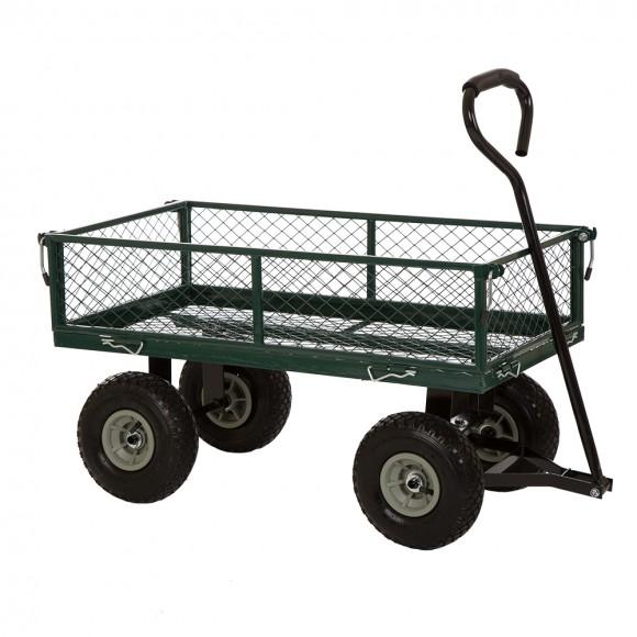 Glitzhome Garden Steel Cart with Wheels 330 Capacity Green