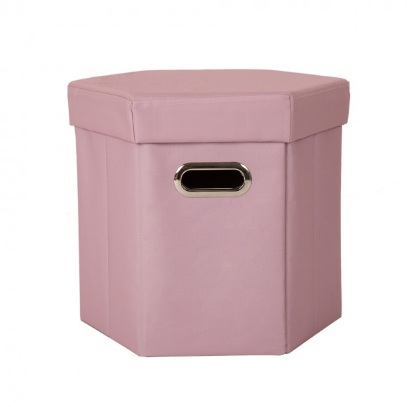 Glitzhome Foldable Oxford Hexahedron Storage Ottoman With Padded Seat Pastel Pink