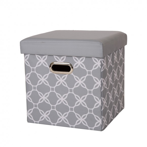 Glitzhome Foldable Oxford Cube Storage Ottoman With Padded Seat Gray