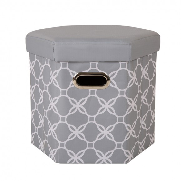 Glitzhome Foldable Oxford Hexahedron Storage Ottoman With Padded Seat Gray