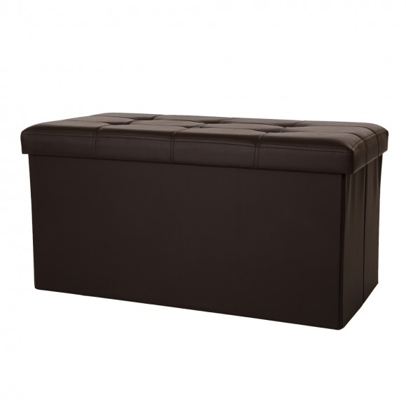 Glitzhome Foldable PVC Storage Ottoman Bench with Padded Seat, Coffee