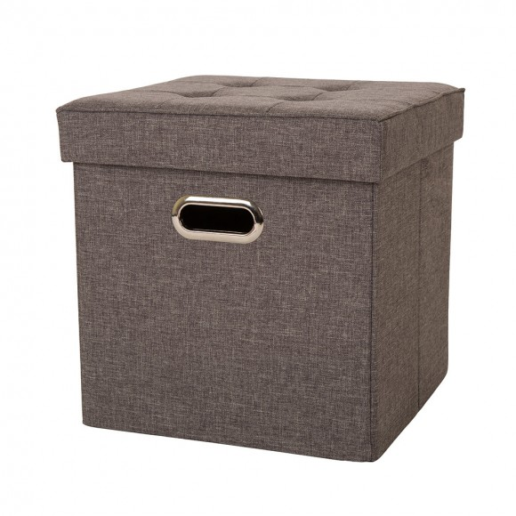 Glitzhome Foldable Linen Cube Storage Ottoman with Padded Seat, Gray
