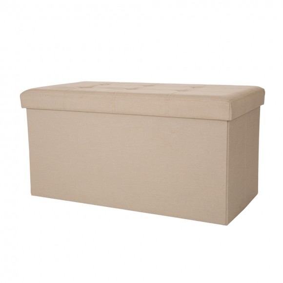 Glitzhome Foldable Linen Storage Ottoman Bench With Padded Seat Cream