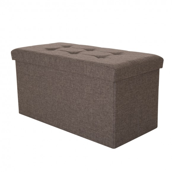 Glitzhome Foldable Linen Storage Ottoman Bench With Padded Seat Gray