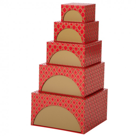 Glitzhome Nesting Box Tower Red 5 Piece Set Baby Shower Xmas Gift Boxes