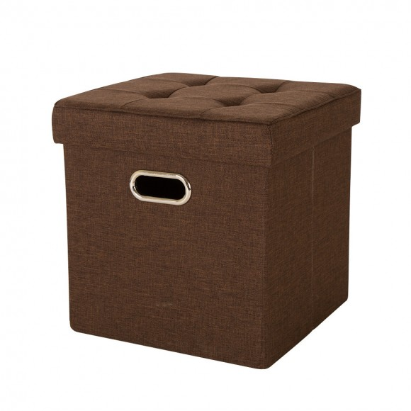 Glitzhome Foldable Linen Cube Storage Ottoman With Padded Seat Coffee
