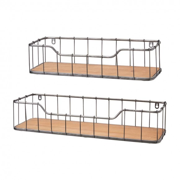Glitzhome Metal Wooden Wall Storage Basket Shelves Rustic Design Set Of Two