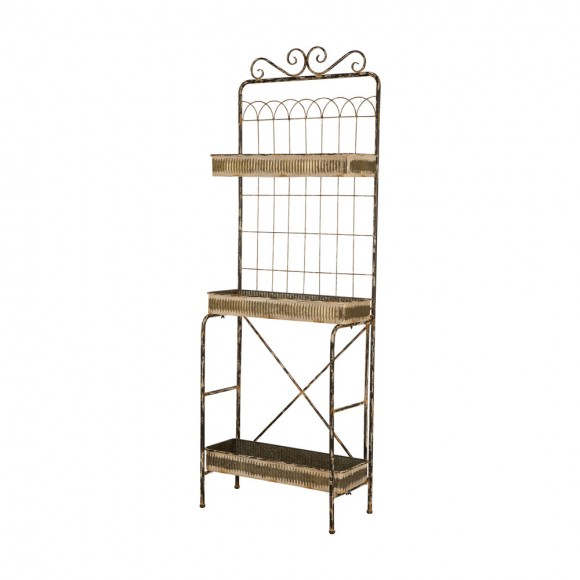 Glitzhome Rustic Metal Planter Rack with 3 Sturdy Tiers Gardening Plants Flower Pot Stand