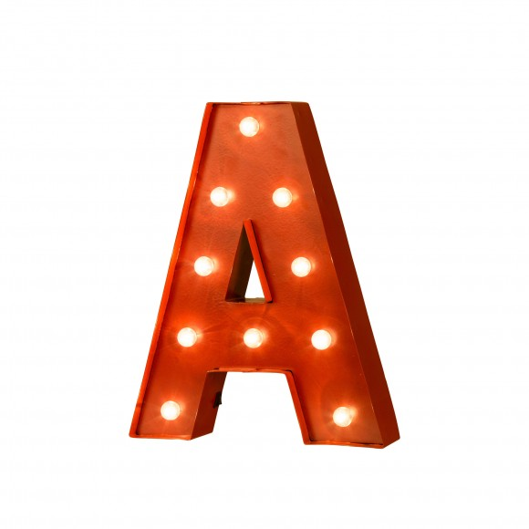 Glitzhome Vintage Marquee Led Lighted Letter A Sign Battery Operated Red