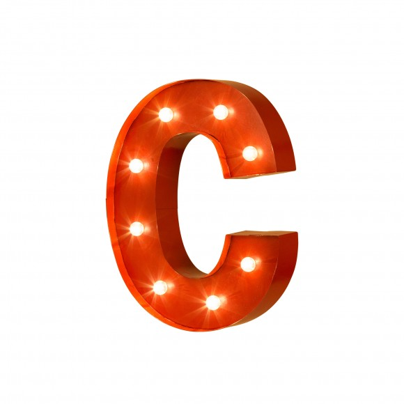 Official Glitzhome Vintage Marquee Led Lighted Letter C