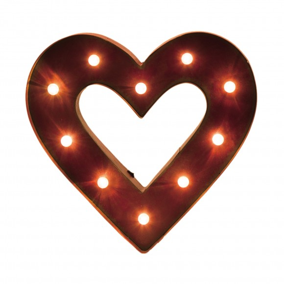 "Glitzhome 14.06""H Marquee LED Lighted Heart Sign Battery Operated"