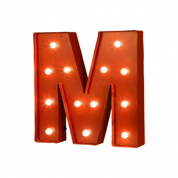 Glitzhome Vintage Marquee Led Lighted Letter M Sign Battery Operated Red