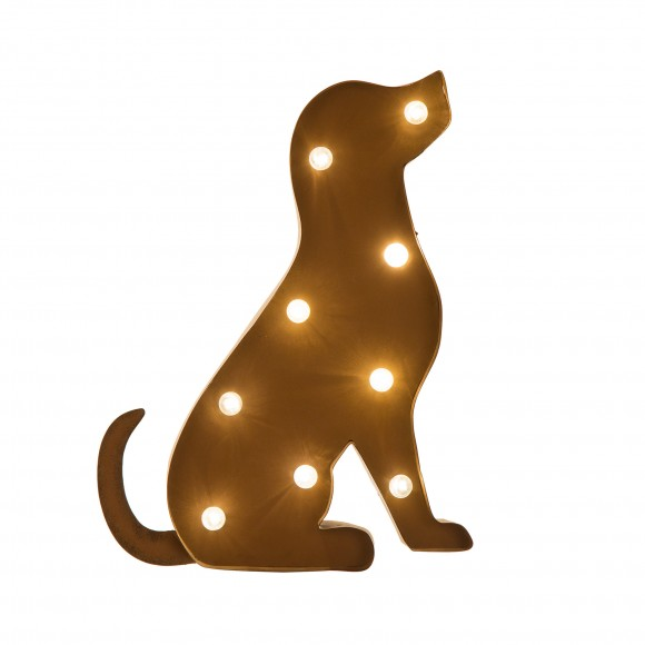 Glitzhome Rusty Marquee LED Lighted Dog Sign Wall Decor Battery Operated