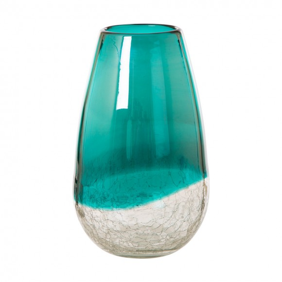Glitzhome Hand Blown Two Tone Crakcle Teardrop Tabletop Art Glass Vase 9.06 Inch, Turquoise